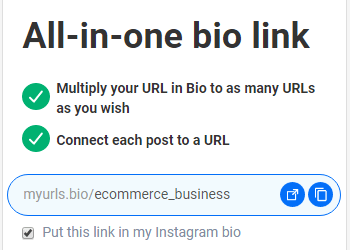 custom URL for IG bio